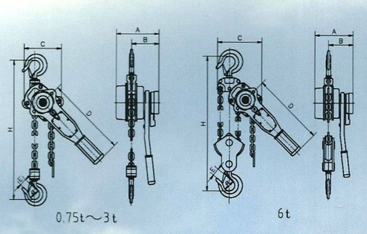 HSH型0.75t-6t A类 手扳葫芦结构图